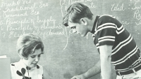 Bob Atkins consults Mrs. Vicki Rohe about a problem with his term paper